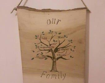 Handmade family tree plaque on natural wood slice