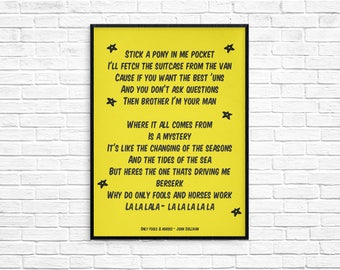 Only Fools & Horses Opening Theme tune Print Picture Art Poster Retro Style Print Typography Del Boy Rodney