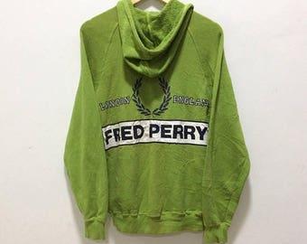 BIG SALE Vintage Fred Perry Hoodie Jacket Mods Casuals Fred Perry Big Logo Fred Perry Spellout