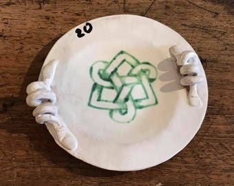 Hand-decorated ceramic ashtray