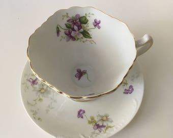 Antique Porcelain Tea Cup and Saucer Set with Purple Flowers