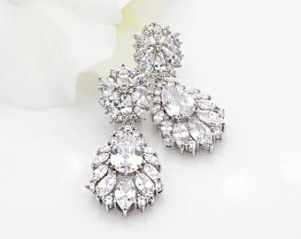 ALLIE - Wedding Earrings, Chandelier Bridal Earrings, Vintage Wedding, Crystal Earrings, Bridal Jewelry, Silver Cubic Zirconia Earrings