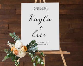 Printable Wedding Welcome Sign, Delicate Calligraphy,  Customize the names of the Bride & Groom,  DIY Printable Reception Chalkboard Sign