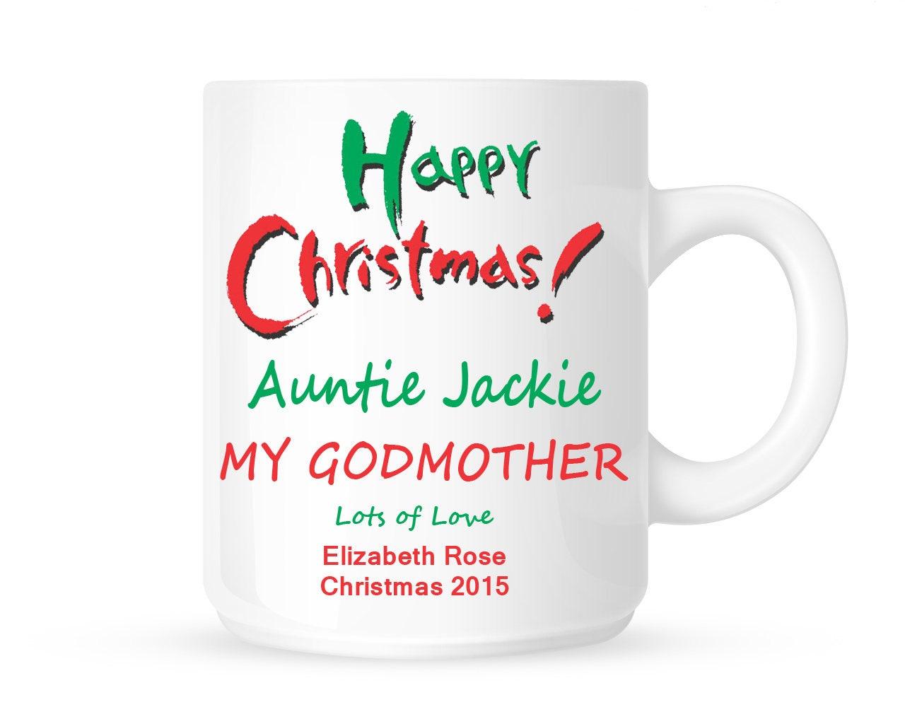 HAPPY CHRISTMAS GODMOTHER Personalised Ceramic Mug Godparent ...