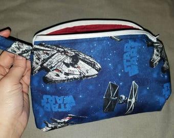 Star Wars Millenium Falcon TIE Fighter makeup or toiletry bag - Finn Poe Dameron Rey BB-8 Han Solo Chewbacca Rebellion travel kit unisex