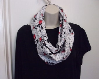 Mickey Mouse Scarf  White Background with Red and Black Mickey Mouse
