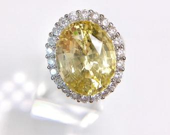 12 CT yellow sapphire ring, diamonds, 18K white gold