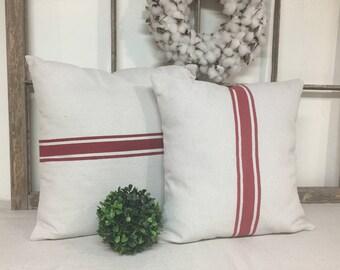 Grain Sack Pillows, Black Striping Pillow, Red Striping Pillow, Grain Sack Pillow Cover, Grain Sack Pillow, Grain Sack Pillow Covers,