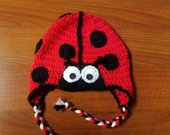 Ladybug Hat, Toddler Earflap Hat, Crochet Ladybug Cap