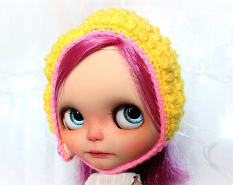 Baby hat for Neo Blythe - yellow