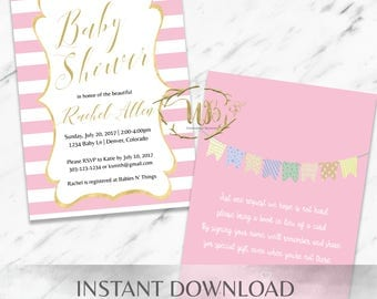 Pink Baby Shower Invitation Template - INSTANT Download