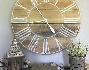 Roman Numeral Clock Roman Numeral Big Wall Clock Farmhouse Clock Oversized Wall Clock Handmade Wooden Clock Pallet Clock Rustic Big Clock