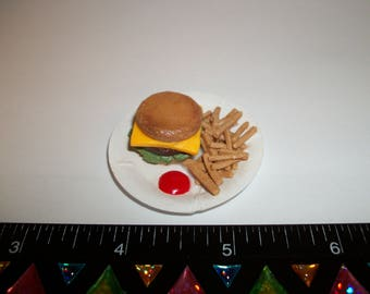 Dollhouse Miniature Handcrafted Cheeseburger with French Fries Barbie Food for the Doll House 1105