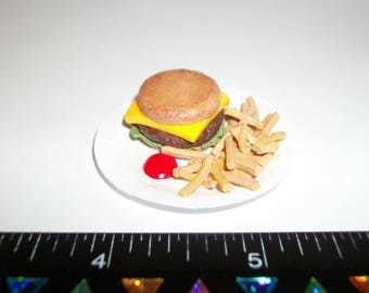 Dollhouse Miniature Handcrafted Cheeseburger with French Fries Barbie Food for the Doll House 1106