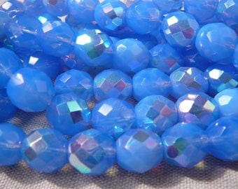 Faceted beads - set of 5 beads - Sapphire sugar - BOHEMIAN