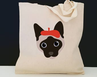 Personalized Siamese Cat Tote Bag (FREE SHIPPING), 100% Cotton Canvas Cat Tote Bag, Siamese Cat Tote Bag, Cat Totes, Cat Gift, Siamese Cat