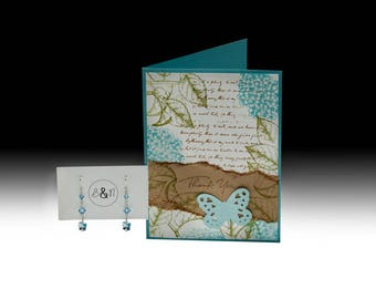 Blue Butterfly Thank You Card and Earrings Gift