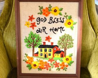 Vintage Crewel Artwork/ Embroidered artwork/ God Bless Our Home Framed Crewel/ Framed Crewelwork/ handmade/ 1960s