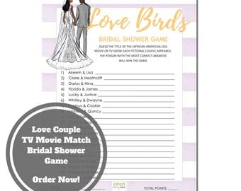Love Birds Bridal Shower Game - African American Bridal Shower Game Download - Guess the Movie Bridal Shower Game -Purple