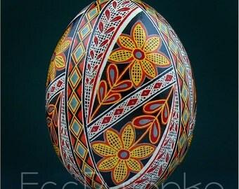 Real Ukrainian Pysanky Chicken Pysanka High Quality by Roman Easter Egg Hand made