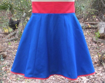 Blue and Red Super Hero Skirt - Paneled Semi Circle Skirt in Super Hero Colors - Comic Con Skirt - Feel Like a Super Hero - Cosplay Skirt