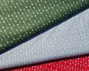 Arrows Cotton Fabric-Hunter Green, Gray, Red