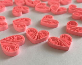 Quilled Hearts Paper Quilling Art Confetti Scatter Ornaments Gifts Fillers Valentines Mothers Day Baby Bridal Shower Wedding Neon Pink
