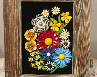 Vintage Jewelry Rustic Country Floral Framed Art Collage Picture