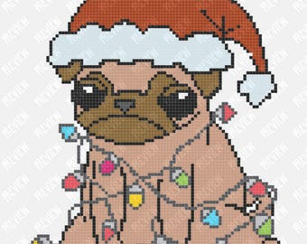 Christmas Pug Dog | Lights | Counted Cross Stitch PDF Pattern | Instant Download | Dog Lover |