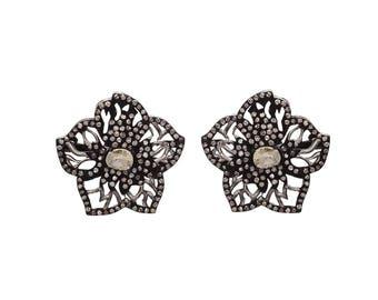 Rose Cut Champagne Polki Diamond Stud Earring in 925 Sterling Silver