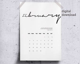 Printable February 2018 Wall Calendar, Literary Quote Heart, February Calendar Page 2018 Desk Calendar, Minimalist Calendar Poe Quote
