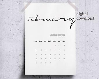 Printable February 2018 Wall Calendar, Literary Quote Heart, February Calendar Page 2018 Desk Calendar, Minimalist Calendar Poe Quote