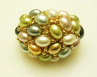 Kenneth Jay Lane Faux Pearl Pastel Ring  size  8