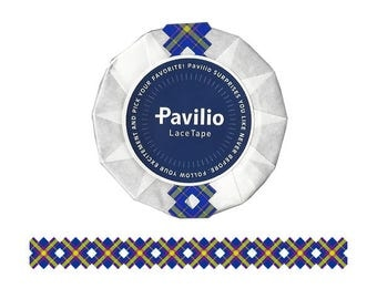 Japanese Pavilio lace tape Check blue / red 15mm x 10m