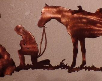 Kneeling Cross w/horse