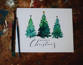 Merry Christmas Trees Print