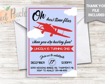 Airplane Birthday Invitation 5x7 Personalized Digital Invite First Birthday Party #10.0
