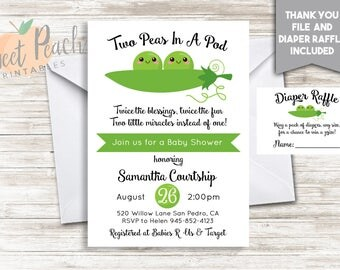 Two Peas In A Pod Twin Baby Shower 5x7 Personalized Digital Invitation for Twins #184.0