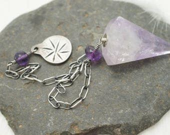 Handmade Amethyst Pendulum - Crystal Pendulum - for Dowsing and Divining or Use as Personal Talisman or Meditation Aid