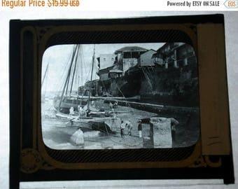 Summer Sale Magic Lantern Glass Boat by Shore Panama 1900's