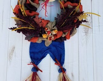 Fall Wreath, Scarecrow Wreath, Autumn Wreath, Fall Decor, Scarecrow Decor, Autumn Decor, Burlap Wreath, Fall, Scarecrow, Autumn, Wreath