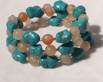 Agate and turquoise wrap