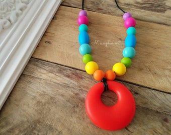 Teething necklace. Rainbow.