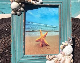 Sea Green handcrafted shell frame Coastal Decor
