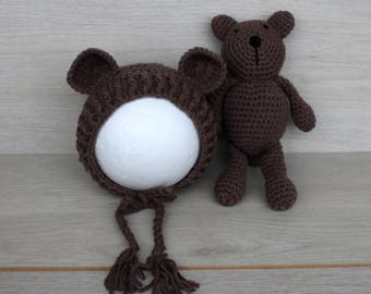 Chocolate Brown Newborn Bear Bonnet & Teddy Bear Cuddle Buddy Set