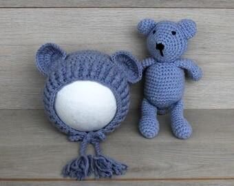 Grey Newborn Bear Bonnet & Teddy Bear Cuddle Buddy Set
