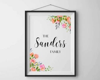 SALE 50% Family name print Personalized family print Family name sign Family art print Personalised printable Home wall art Floral printable