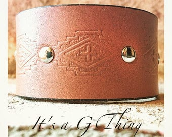 Brown Leather Aztec Cuff