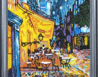 Embroidery kit, Cafe Terrace at Night by Van Gogh, bead embroidery designs, 34x27cm, full space embroidery kit
