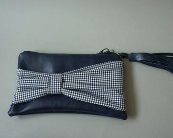 Faux leather bow clutch